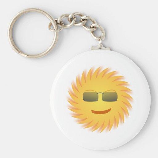 Smiling Sun Wearing Sunglasses Key Chain