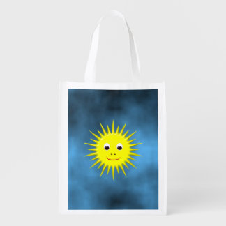 Smiling Sun with a blue sky Reusable Grocery Bag