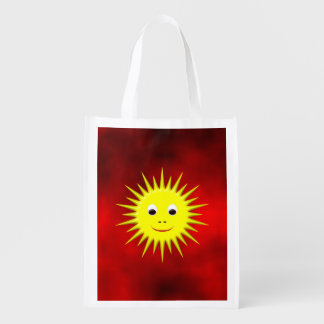 Smiling Sun with a red sky Reusable Grocery Bag