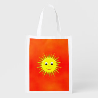 Smiling Sun with an orange sky Reusable Grocery Bag