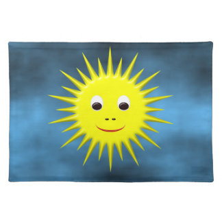 Smiling Sun with blue sky placemat