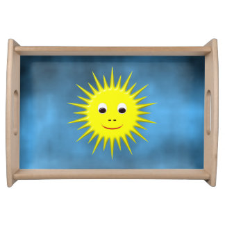Smiling Sun with blue sky Serving Tray
