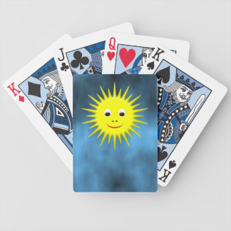 Smiling Sun with blue sky sky playing cards