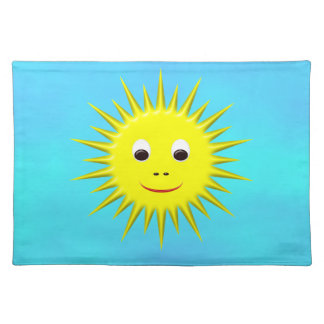 Smiling Sun with cyan sky placemat