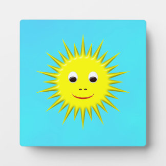 Smiling Sun with cyan sky plaque