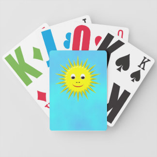 Smiling Sun with cyan sky playing cards
