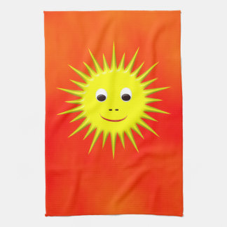 Smiling Sun with orange sky kitchen towel