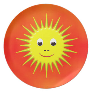 Smiling Sun with orange sky plate