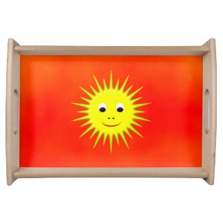 Smiling Sun with orange sky Serving Tray
