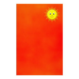 Smiling Sun with orange sky stationery