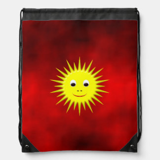 Smiling Sun with red sky Drawstring Bag