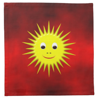Smiling Sun with red sky napkins