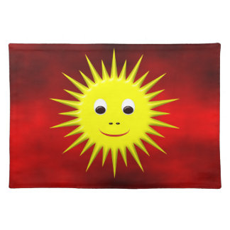 Smiling Sun with red sky placemat