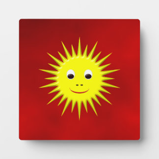Smiling Sun with red sky plaque
