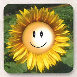 Smiling sunflower artistic illustration drink coasters