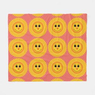Smiling Sunflowers Fleece Blanket