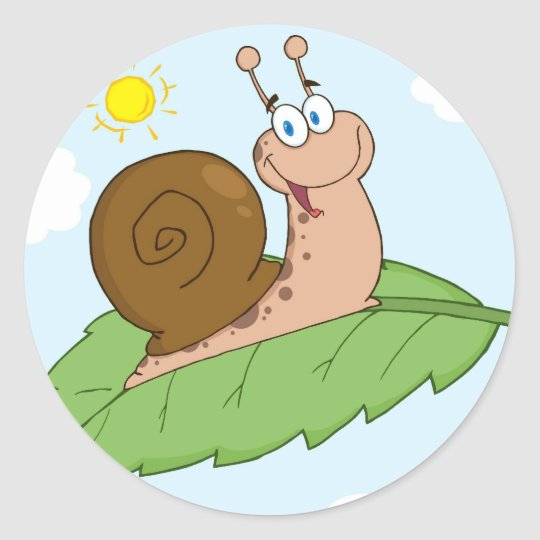 Smiling Super Snail on His Leaf Classic Round Sticker