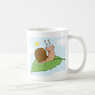 Smiling Super Snail on His Leaf Coffee Mug