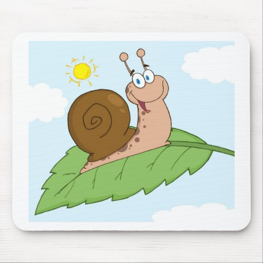 Smiling Super Snail on His Leaf Mouse Pad