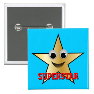Smiling Superstar Character Gold 15 Cm Square Badge