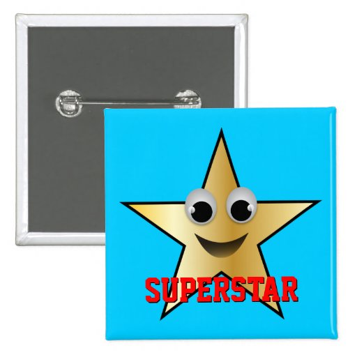 Smiling Superstar Character Gold Buttons