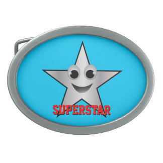 Smiling Superstar Character Silver Belt Buckle