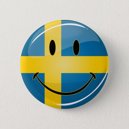 Smiling Swedish Flag 6 Cm Round Badge