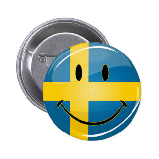 Smiling Swedish Flag 6 Cm Round Badge