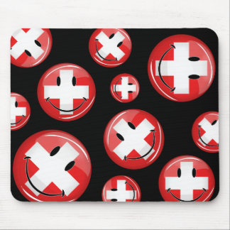 Smiling Swiss Flag Mouse Pad