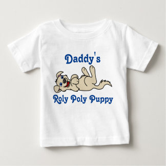 Smiling Tan Puppy Dog Roll Over Baby T-Shirt