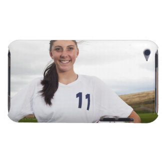 smiling teen girl soccer player w/ soccer ball iPod touch cases