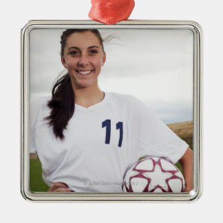 smiling teen girl soccer player w/ soccer ball Silver-Colored square decoration