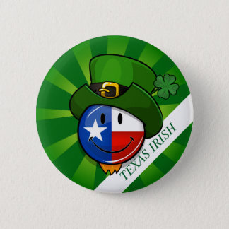 Smiling Texan Flag with St. Patrick's Day 6 Cm Round Badge