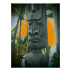 Smiling tiki statue tropical orange poster