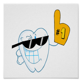 Smiling Tooth Cartoon Character Number One Poster