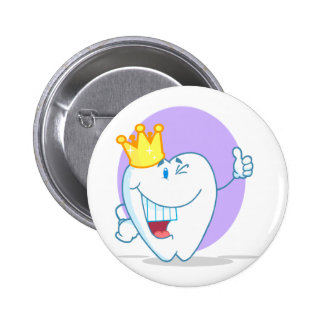 Smiling Tooth Cartoon Character With Golden Crown 6 Cm Round Badge