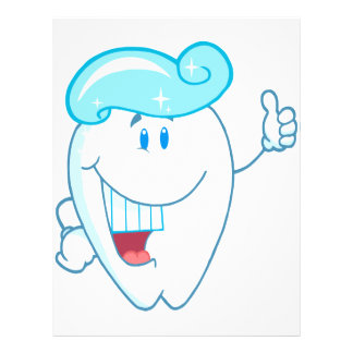 Smiling Tooth Cartoon Character With Toothpaste On 21.5 Cm X 28 Cm Flyer