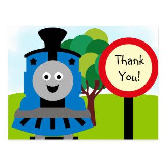 Smiling Train Birthday Thank You Postcard