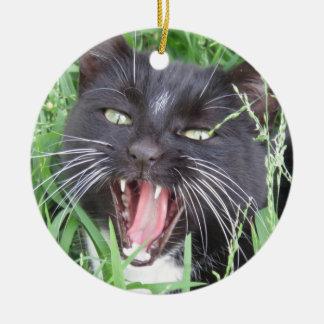 Smiling Tuxedo Cat - Christmas Ornament