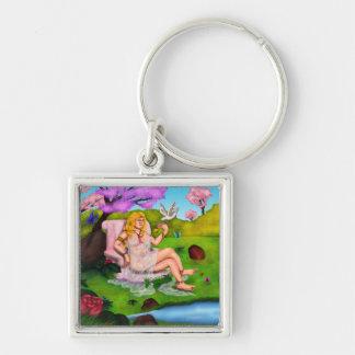 Smiling Venus and flying white dove in Garden Eden Key Ring