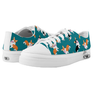 Smiling Welsh Corgi Cartoon Low Tops