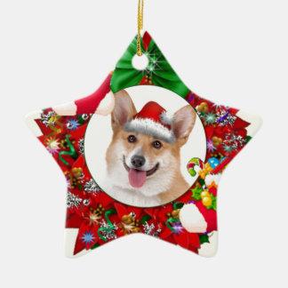 Smiling Welsh Corgi Wreath Christmas Ornament