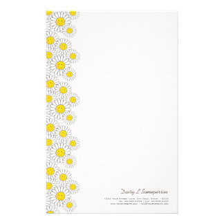Smiling White Daisies Personalizable Stationery