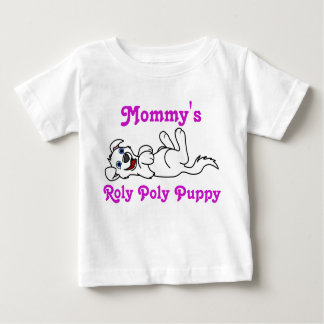 Smiling White Puppy Dog Roll Over Baby T-Shirt