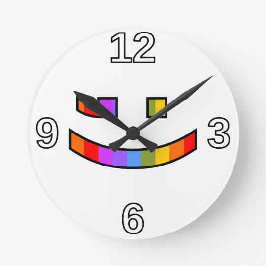 Smiling, Winking, Proud, Rainbow-Coloured Face Round Clock