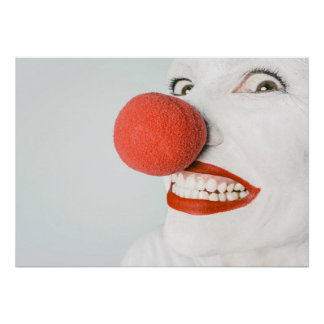 Smiling woman clown with a big red nose, poster