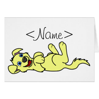 Smiling Yellow Puppy Dog Roll Over Greeting Card