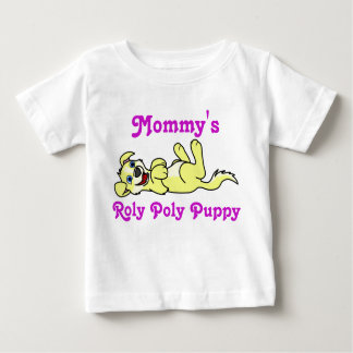Smiling Yellow Puppy Dog with Blaze Roll Over Baby T-Shirt