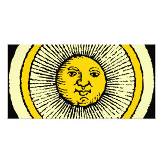 smiling yellow sun with line rays photo greeting card