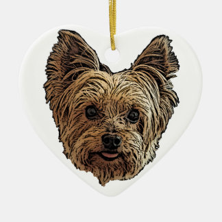 Smiling Yorkie Christmas Ornament